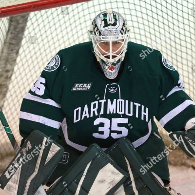 Mandatory Credit: Photo by Rich Schultz/AP/Shutterstock (10055971bi) Dartmouth's Adrian Clark (35) during an NCAA hockey game against Princeton, Saturday, Jan.12, 2019 in Princeton, N.J Dartmouth Hokcey, Princeton, USA - 12 Jan 2019