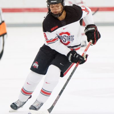 November 2, 2018: Ohio State Buckeyes defenseman Sophie Jaques (18) handles the puck against St. Cloud State in their game in Columbus, OH.